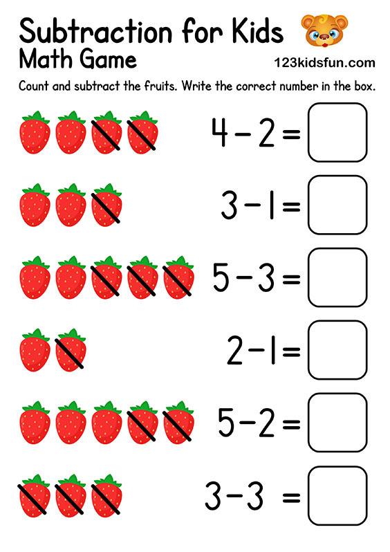 Free Printable Preschool & Kindergarten Simple Math Worksheets - Subtraction for Kids