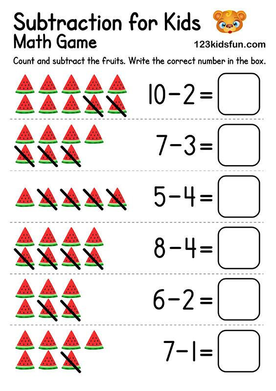 Free Printable Kindergarten Math Worksheets - Subtraction for Kids